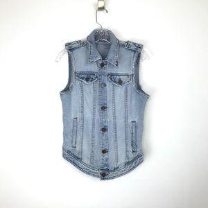 blank NYC denim jean vest distressed button up